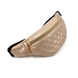 Handbags - NWOT Quilted metallic gold faux leather fanny pack